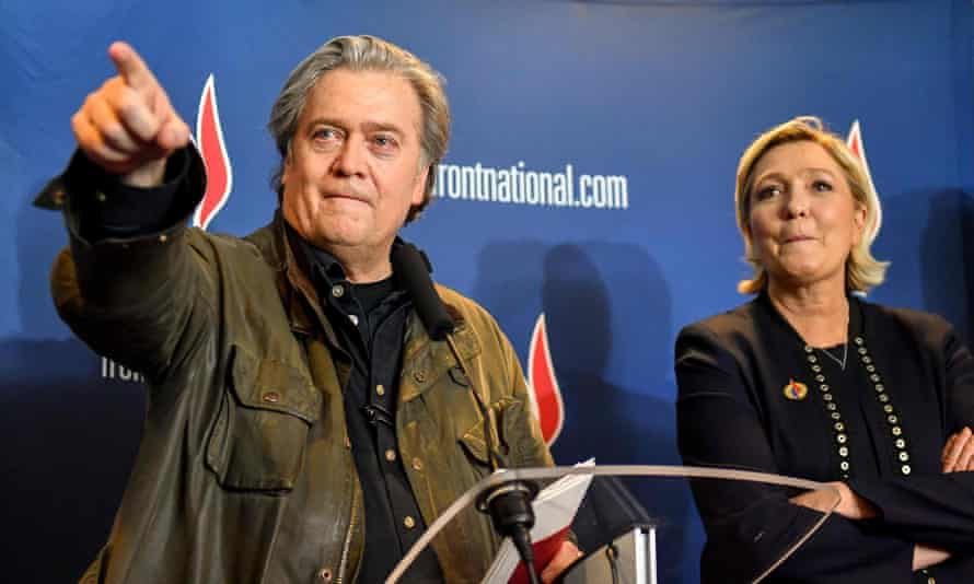 Steve Bannon with Front National leader Marine le Pen in March.