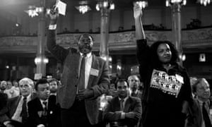 The first 4 British BAME MPs Paul Boateng , Bernie Grant, Keith Vaz and Diane Abbott were all elected in 1987. Here they are in Blackpool the following year during the debate on the creation of separate black sections within the Labour Party, at the party's annual conference.