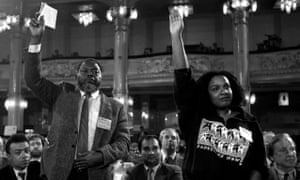 MPs Bernie Grant and Diane Abbott at the 1988 Labour party conference in Blackpool