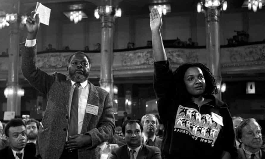 MPs Bernie Grant and Diane Abbott, with arms raised, are watched by Paul Boateng and Keith Vaz at Labour's annual conference in Blackpool, 1988