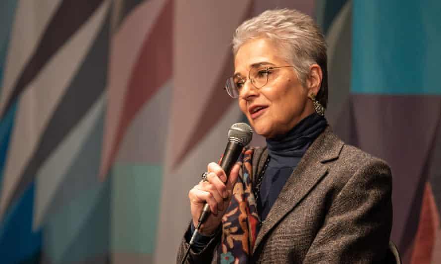 Katharina Kubrick speaks at a press briefing