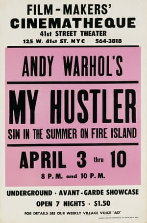A lithograph window card for the film My Hustler by Andy Warhol, 1966