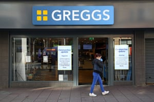 A Greggs bakers store in Cardiff, south Wales, at the start of the lockdown