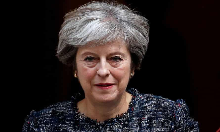 Theresa May leaving 10 Downing Street.
