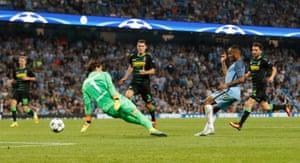 Manchester City's Raheem Sterling is denied by Yann Sommer.