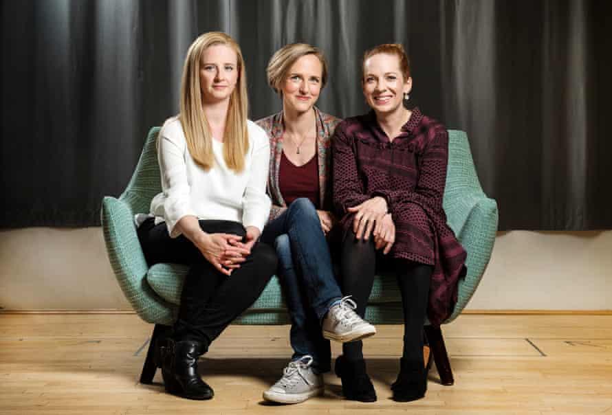 Tamara Harvey, centre, with Hom, I'm Darling's writer Laura Wade and star Katherine Parkinson.