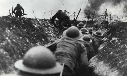 British troops go over the top in the trenches during the Battle of the Somme.