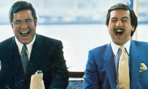 Jerry Lewis as a celebrated comedian with Robert De Niro as his obsessive fan in Martin Scorsese's The King of Comedy, 1982.