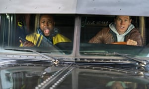 Winston Duke and Mark Wahlberg in Spenser Confidential.
