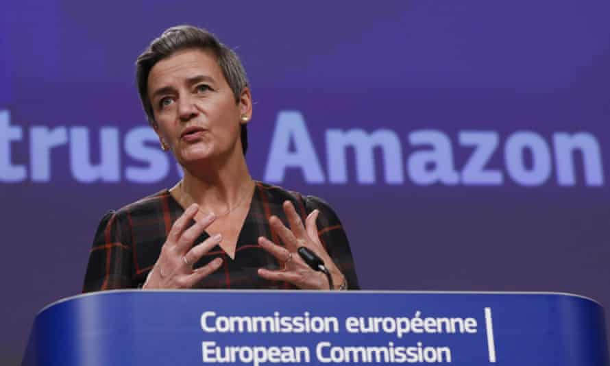 European commission vice-president, Margrethe Vestager, speaks during a press conference regarding Amazon.
