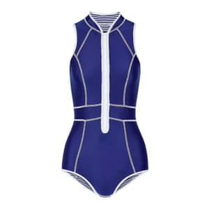 blue and white scuba style swimsuit