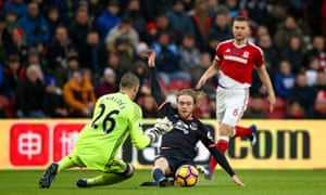Middlesbrough goalkeeper Victor Valdés comes off his line to deny Everton's Tom Davies.