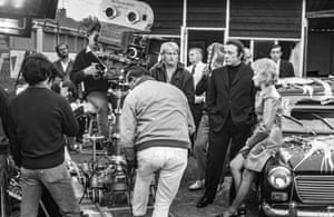 Richard Burton on the set of the film Villain, 1971