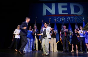 Connecticut gubernatorial candidate Ned Lamont, left, dances with New Haven Mayor Toni Harp as he celebrates his win in the Democratic primary in New Haven, Conn., Tuesday, Aug. 14, 2018.