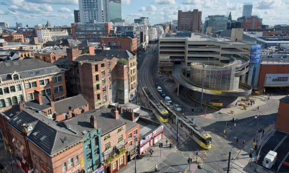 A view of Shudehill, High Street, Withy Grove, Northern Quarter, Arndale and the city centre skyline of Manchester.<br>E5D9YW A view of Shudehill, High Street, Withy Grove, Northern Quarter, Arndale and the city centre skyline of Manchester.