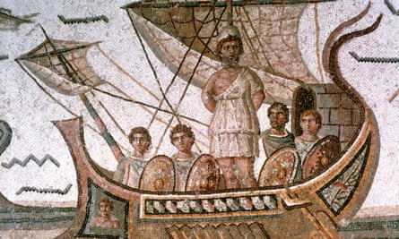 A Roman mosaic from 3rd century AD showing Odysseus tied to the mast of his ship to save him from the Sirens, as told in Homer's Odyssey.