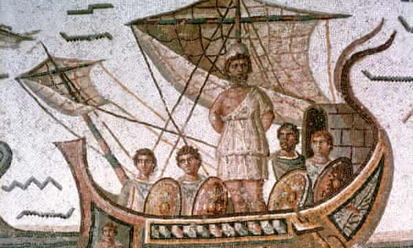 Odysseus tied to the mast of his ship to save him from the Sirens. Homer's Odyssey. Roman mosaic, 3rd century AD, Tunis.