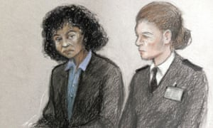 A court sketch showing the defendant, Berlinah Wallace, left, in the dock at Bristol crown court.