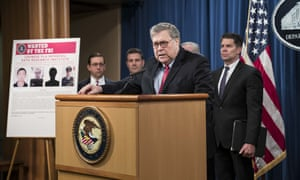 William Barr at a press conference on Monday to announce the charges. The breach in 2017 affected nearly 150m American citizens, Barr said.
