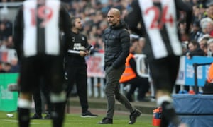 Pep prowls the touchline.