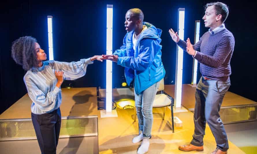 Yusra Warsama (B), Ncuti Gatwa (Serge) and Nick Blakeley (A) in The Claim by Tim Cowbury.