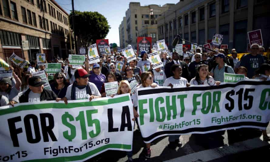 Fast-food workers protest for higher wages in Los Angeles, California. On Saturday, California legislators and labor unions reached an agreement that will take minimum wage from $10 to $15 an hour.