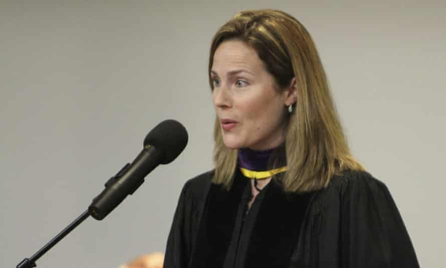 Amy Coney Barrett, then a University of Notre Dame law professor, gives the commencement address to Trinity at Greenlawn graduates at the Trinity People of Praise Center in South Bend, Indiana, in 2011.