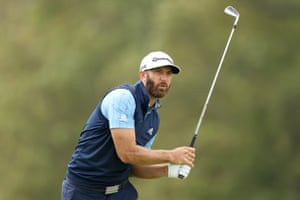 Dustin Johnson reacts during the second round.
