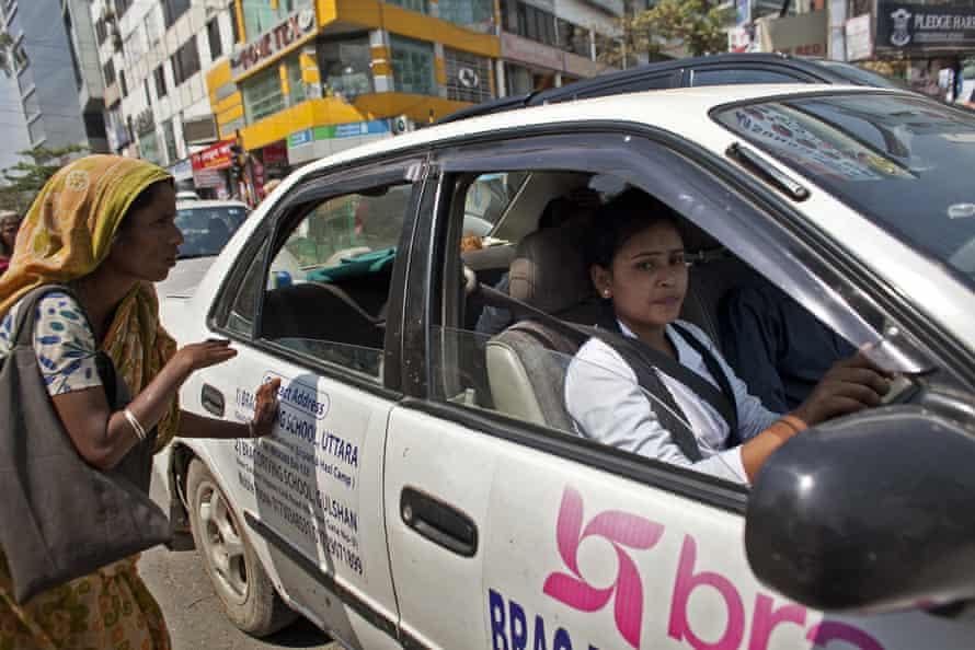 A learner driver in Dhaka, Bangladesh.