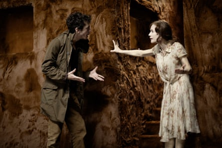 Nahuel Pérez Biscayart and Isabelle Huppert in The Glass Menagerie.