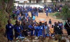 Students leave school in Mbalmayo, a village south of Yaoundé