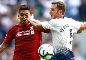 15th September: Tottenham Hotspur's Jan Vertonghen bumps into Liverpool's Roberto Firmino.