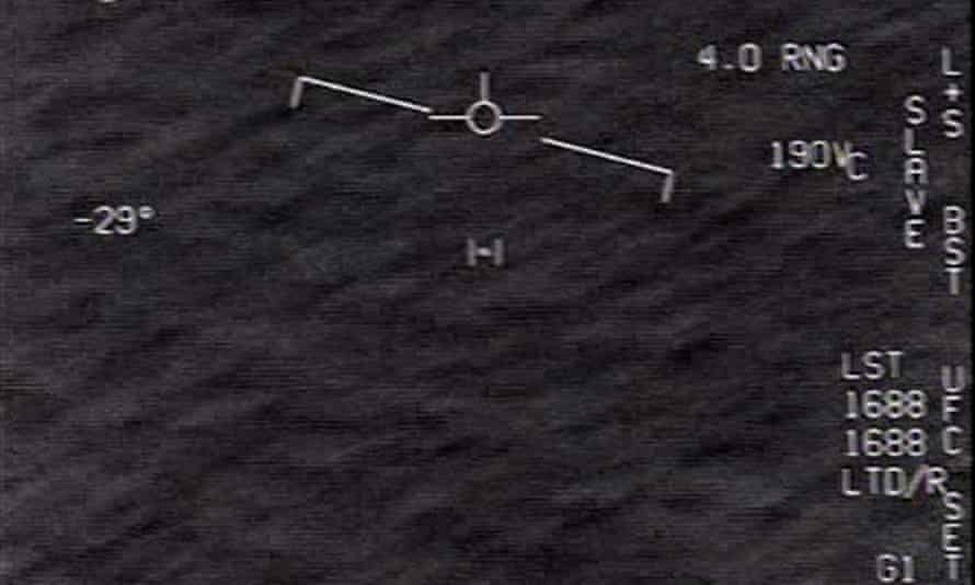 A screengrab from an unclassified US navy video authorized for release from the defense department shows interactions with unidentified aerial phenomena.