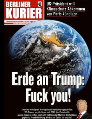 Front page of the Berliner Kurier, Germany, following Trump's climate decision