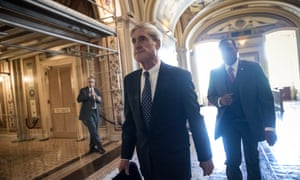 Robert Mueller departs after a closed-door meeting with members of the Senate judiciary committee in June.