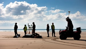 The Coastal Processes Research Group. Gathering data on Perranporth beach using Unmanned Aerial Vehicle *** Local Caption *** UAV, drone, beach, sky, sea, aerial, survey,