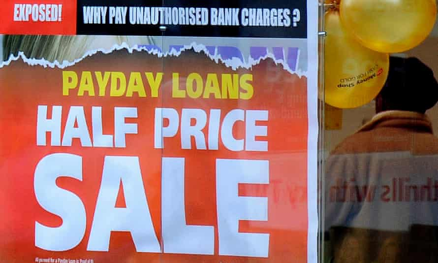 Payday loan sign in shop window