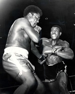 Frank Bruno lands a big right hand onto Walter Santemore's head 50 seconds into the fourth round of their bout in December 1983