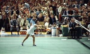 Billie Jean King takes on Bobby Riggs in their 'Battle of the Sexes'.