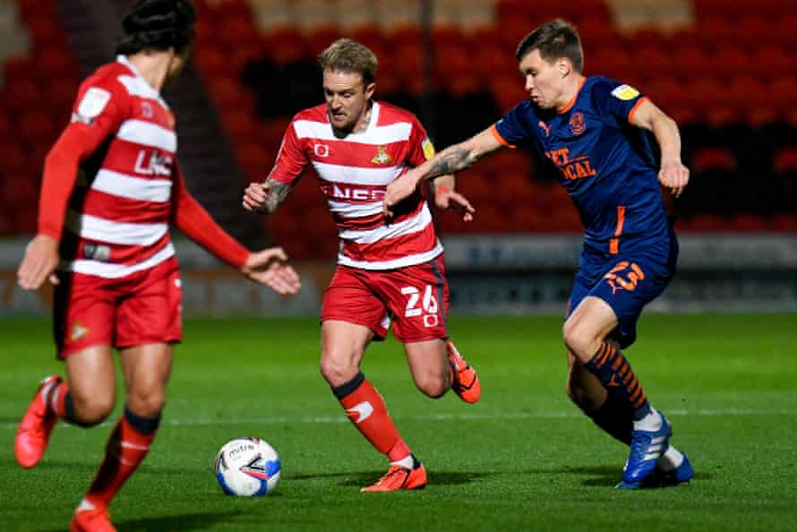James Coppinger in action against Blackpool this season.
