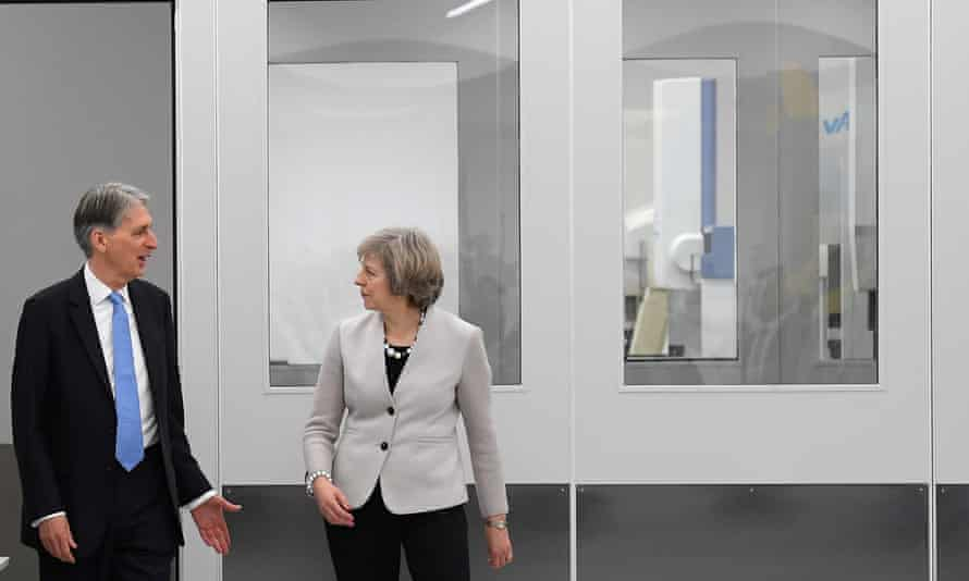 Theresa May and Philip Hammond visit Renishaw plant in Gloucestershire