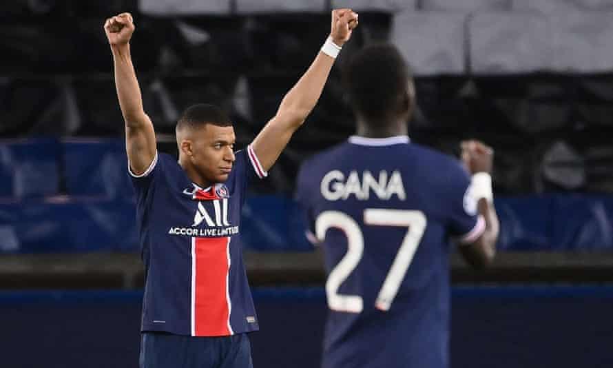 Paris Saint-Germain's Kylian Mbappé celebrates after the team knocked out Bayern Munich in a Champions League quarter-final last season on away goals.
