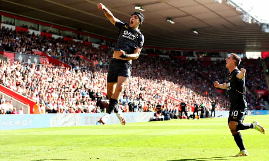 Wolves striker Raúl Jiménez celebrates scoring the only goal of the game against Southampton by jumping up in font of the fans.