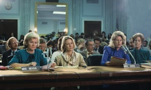The 'Washington wives' of the PMRC speak at Senate hearings in 1985, led by Sally Nevius, left, and Tipper Gore, second right.