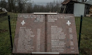 A marble monument with the names of 38 people who were taken from the small hamlet of Carakovo on the night of 25 July 1992 and killed. Many remain missing.