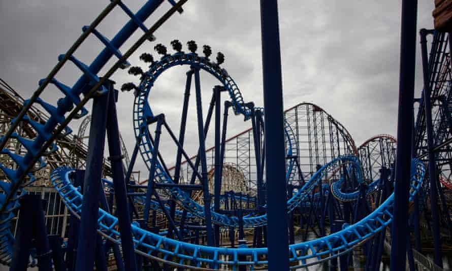 Testing a roller coaster at Blackpool Pleasure Beach