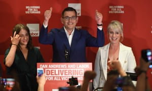 Daniel Andrews claiming victory at the Labor party reception on Saturday night.
