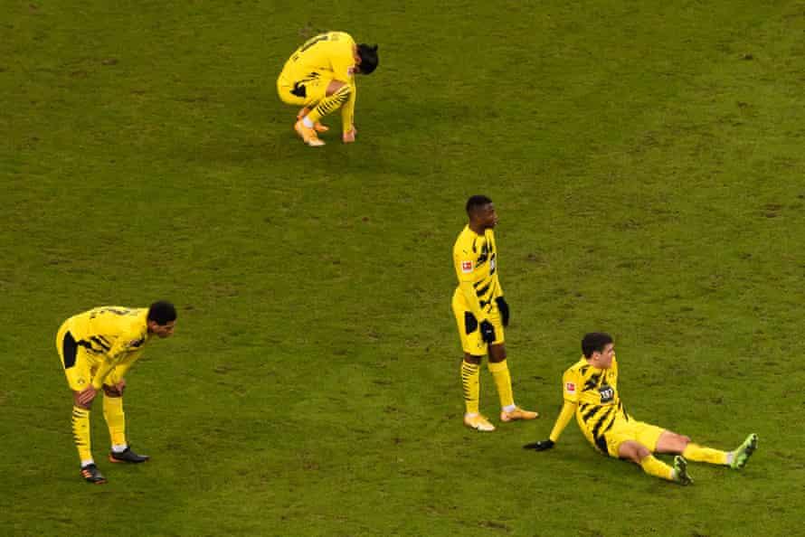 Dortmund players after being held in Frankfurt.