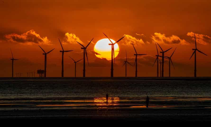 The Burbo Bank windfarm seen from Crosby Beach on Merseyside in north-west England