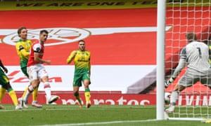 Granit Xhaka scores the second Arsenal goal.